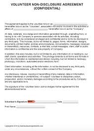 Free Volunteer Confidentiality Agreement Template Nda Pdf Word