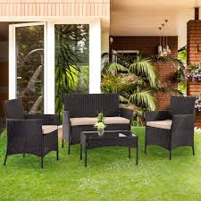 Amazon com patio furniture set 4 piece outdoor wicker sofas rattan chair wicker conversation set coffee table bistro sets for pool backyard lawn garden