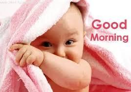 baby wishing good mornng