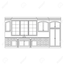 simple kitchen drawing. Kitchen Elevation Line Drawing, Cabinets, Drawers, Appliances Stock Vector - 6959792 Simple Drawing L