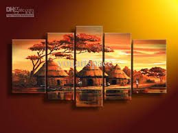 2018 5 panel wall art african abstract orange sunset oil painting on canvas handmade modern art pai from youartspace 42 32 dhgate com