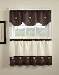 Kitchen Valance Rose Embriodered Kitchen Valance And Tiers Curtainworkscom