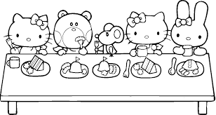 Hello kitty is a member of a large family whose members are all named white. Thanksgiving Hello Kitty Coloring Pages
