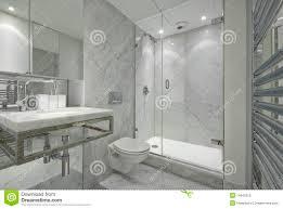 Modern En Suite Marble Bathroom In White Royalty Free Stock Image - White marble bathroom