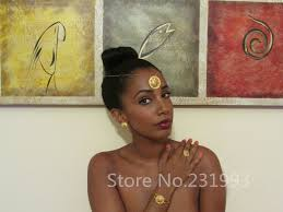 ethlyn best quailty ethiopian jewelry sets gold color hair jewelry 6pcs sets african jewelry for ethiopia best women gift s27 in bridal jewelry sets from