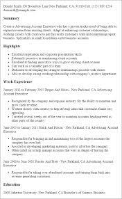 Sample Advertising Account Executive Cover Letter Advertising Account Executive Advertising Resume Barraques Org