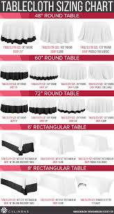 tablecloth size and tablecloth sizing chart for round and rectangular tables and tablecloths