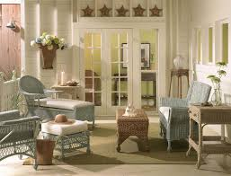 Living Room Wicker Furniture Living Room Attractive Sunroom Decor With White Timber Wall And