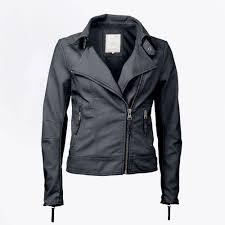 yaya faux leather biker jacket navy