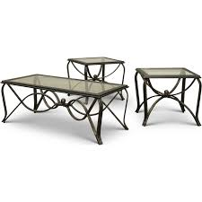 glass top antique 3 piece coffee table