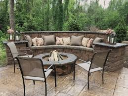 stamped concrete patio with fire pit cost.  Patio Seating Wall Fire Pit And Stamped Concrete Patio Outdoor Oasis Forming  Cost On With E