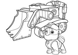 Coloring Pages Paw Patrol Rubble S Bulldozer Page Free Printable
