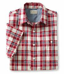 new ll bean lakewashed chambray short sleeve shirt slightly fitted plaid nwt