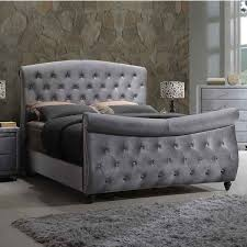 Meridian Furniture Hudson-Sleigh-Q Hudson Grey Velvet Queen Sleigh Bed w/  Crystal Tufted Headboard & Footboard