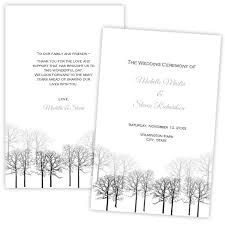 Winter Tree Template Folded Wedding Program Template Winter Forest Diy Printable
