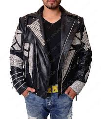 mens black leather jacket with silver studs