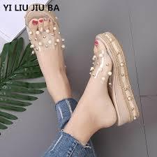 <b>summer flats Women Shoes Platform</b> Slippers Beading pumps ...