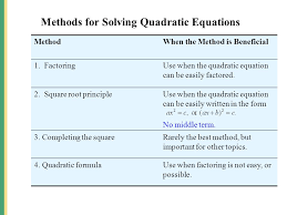 methods for solving quadratic equations