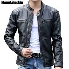 moto leather jacket mens. mountainskin 5xl men\u0027s leather jackets men stand collar coats male motorcycle jacket casual slim brand moto mens 2