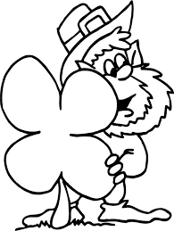 Small Picture St Patricks Day Leprechaun and Four Leaf Clover Coloring Page