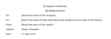 Memo Template Following The Main Features In Writing