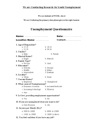 unemployment questionnaire unemployment poverty homelessness