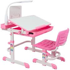 best choice s height adjule children s desk and chair set for kids work station study area pink com