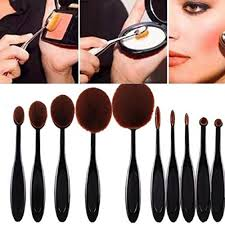 lookatool 2016 high quality 10pcs soft oval foundation makeup brush sets powder blusher toothbrush curve cosmetic makeup brushes tool set of 10 1pcs