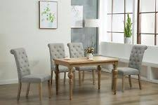 5pc oak dining room kitchen set table 4 grey rolled top chairs 5 piece dinette