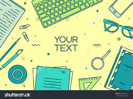 designer office desk isolated objects top view. set of linear vector design illustration modern business office and workspace top view designer desk isolated objects g