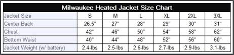Milwaukee Die Chart Milwaukee M12 Heated Jacket Size Chart Tool Craze