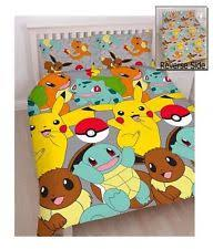Pokemon Catch Pikachu Reversible Double Duvet Cover Bedding Set Boys Xmas  Gift