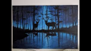 deer in galaxy forest acrylic painting