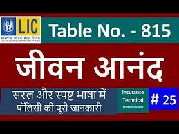 Lic New Jeevan Anand 815 Premium Chart