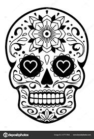 вектор мексиканские череп узорами старая школа тату стиль сахарных