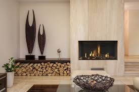 ... Modern fireplace, Grey Brown Modern New Wood Wall Marble Fireplace  Vases Flowers Sofa Chair Jars ...
