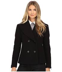 nicole miller black pea coats for women double ted peacoat with shouler detailing on