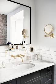 wall mounted faucets bathroom. Bathroom Goals. Black Vanity, Marble Counter, White Subway Tile, Wall Mounted Faucet Faucets Pinterest