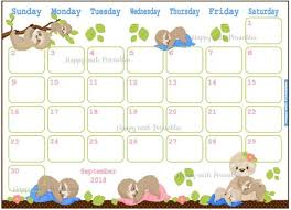 Cute Calendar Template Cool Calendar September 44 Sleepy Sloth Planner Printable Etsy