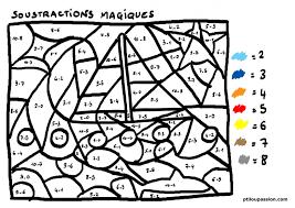 Coloriage Magique Soustraction Calcul Addition Soustraction Jeu De Coloriage Numerote Chiffres Et Mer N L