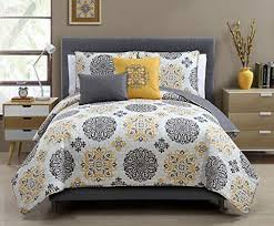 5 pc yellow grey and white quilt set