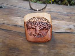 Wood Carving Dremel Tree Of Life Necklace Wooden Necklace Carved In Hawthorn Wood