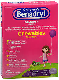 Children S Chewable Benadryl Dosage Chart Benadryl Childrens Allergy Chewable Tablets Grape Flavored 20 Ct