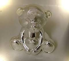 baby gifts direct silver plated teddy bear money box christening gift new baby