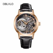 oblvlo casual watches mens skeleton dial calfskin leather band rose