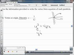 use the information provided to write the vertex form equation of each parabola