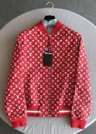 details about supreme x louis vuitton red leather blouson sku 1a3fbj monogram er jacket 52