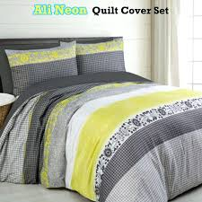 yellow king duvet cover neon grey quilt set single double queen super size large size