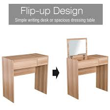 back to uni homcom dressing table with mirror and stool wood grain colour