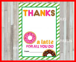Printable Thank You Cards For Teachers Printable Thanks A Latte Thank You Card Instant Download Printable Teacher Appreciation Cards Printable Gift Card Holder